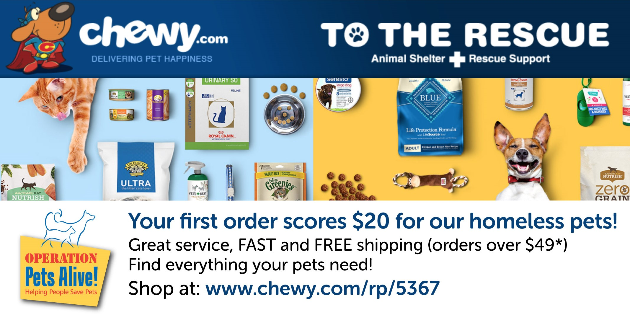Shop with Chewy, earn OPA rewards!